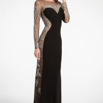 Illusion Scar Beaded Jersey Dress