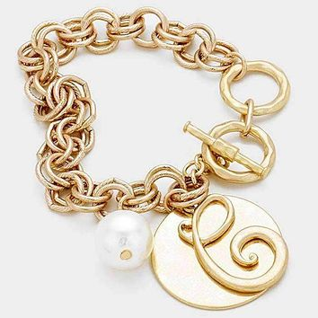 'C' Monogram Disc Charm Linked Chain Bracelet
