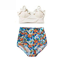2016 New Bikinis Women Swimsuit High Waist Bathing Suit Plus Size Swimwear Push Up Bikini Set Vintage Retro Beach Wear Biquini