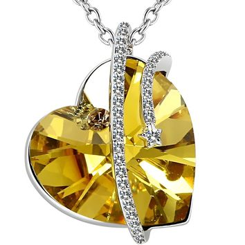 I Love You To The Moon And Back Necklace Heart Made with Swarovski Crystal, Engraved Shooting Star Necklace, 18""