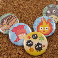Anime  friends Pin back button set of 5