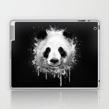 Cool Abstract Graffiti Watercolor Panda Portrait in Black & White Laptop & iPad Skin by Badbugs_art