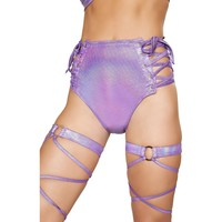 High Waisted Lace-Up Bottoms- Purple
