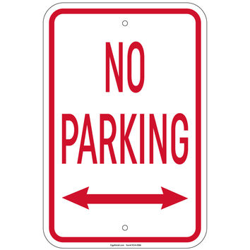 Heavy Gauge No Parking with double arrow Sign 12 x 18 inch Aluminum Signs Retail Store