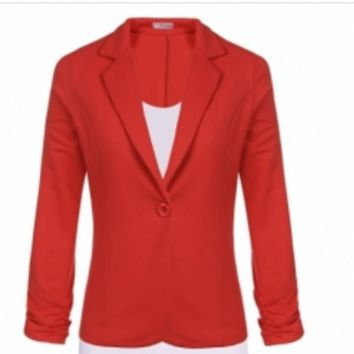Coral One Button Blazer