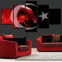 Canvas HD Prints Posters Home Decor Pictures Framework 5 Pieces Flag of Turkey Abstract Red Eagle Paintings Living Room Wall Art