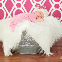 SET White Mongolian Fur and Cherry Blossom Hat Photography Prop Newborn Baby