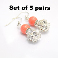 Set of 5 Coral pearl earrings