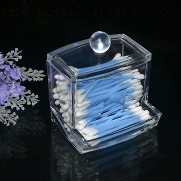 New Design Clear Acrylic Cotton Swab Q-tip Storage Holder Box Cosmetic Makeup Case