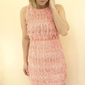 Layla Fringe Dress - blush