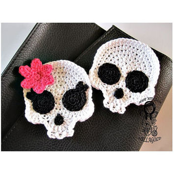 Crochet PATTERN, Applique Skull , Patch, Brooch, Application Skeleton, DIY Pattern 151