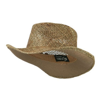Sea Grass Straw Gambler Hat - Natural OSFM