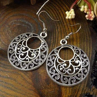 Boho Vintage Tibetan Silver Round Ear Hook Tribal Earrings Retro Big Flower Long Hanging Earrings