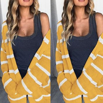 New Yellow Striped Print Long Sleeve Casual Cardigan Sweater