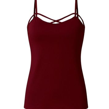 Women Sexy V-Neck Tank Tops Front Cross Spaghetti Straps Camisole Blouses