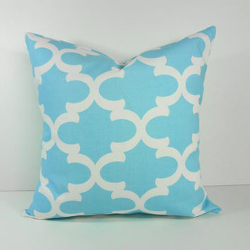 Moroccan Quatrefoil Mint Blue Pillow Cover, Ocean Blue, Apache Blue Throw Pillow Cushion Cover