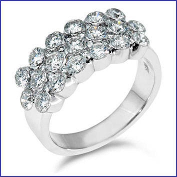 Gregorio 18K White Engagement Diamond Band R-0039