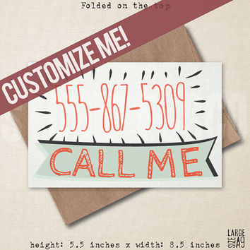 Call Me Card - Custom Invite Card - Reminder Card - Funny Greeting Card - Subtle Card - Date Invite - Card For Valentine - A9 Custom Card