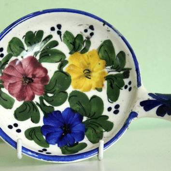 Ceramic, Pottery Plate, Floral Design, With Handle, Norway, Scandinavian Pottery, Candy Dish, Table Decor