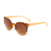 Tortoise Shell Cat Eye Sunglasses with Translucent Coral Arms