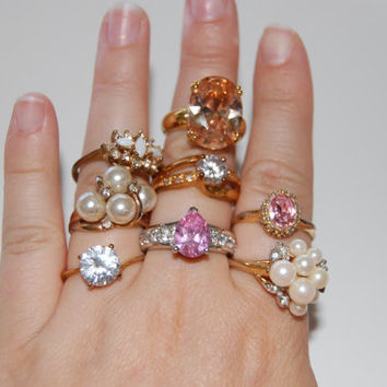 Vintage Ring Lot, Costume Jewelry, Faux Diamond Rings, Faux Pearls, 8 Rings