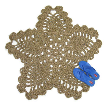 Flower or Star Jute Rug - 5 Pointed Crochet Pentacle or Pentagram Area Rug - Natural Fiber Statement Rug - Jute Pet Mat - Pineapple Pattern