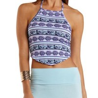 Lavender Combo Mixed Print Halter Crop Top by Charlotte Russe