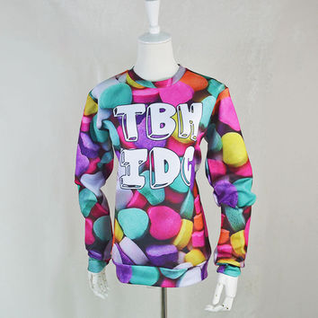 Alisister 2015 New Autumn winter CANDY HEARTS printed pullover 3d hoodies sweatshirt casual TBH IDC moleton top for women/men