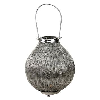 "18.5"" Urban Life Contemporary Silver Tea Light Candle Holder Lantern"