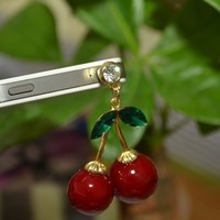 Red Ruby Cherries Headphone Jack Cell Phone Charm Dust Plug