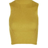 Travelling Ribbed Crop Top - Yellow