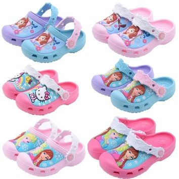08e3966eb Snow Queen Elsa Anna Sofia Princess Baby Slippers 2018 Hello Kitty Swimming  Shoes Kids Water Shoes