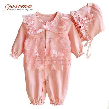 2017 new spring long sleeve baby girl clothes full cotton lace flowers baby girl rompers + bow hat clothing set newborn bodysuit