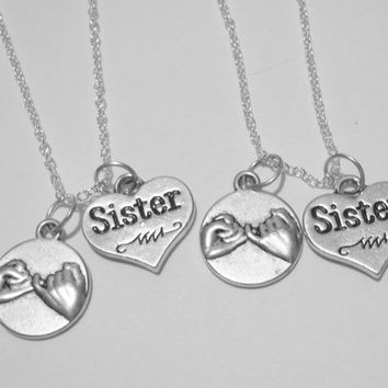 Summer Sale Save15% 2 Sisters Pinky Promise Necklaces BFF