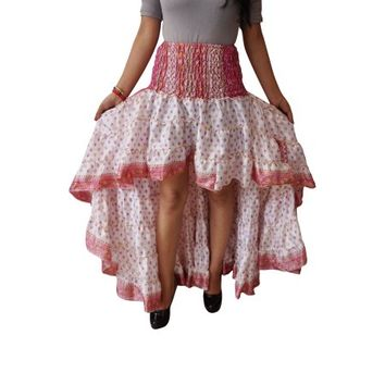 Mogul Womens Gypsy Fairy Skirt Hi Low Recycled Sari Printed Free Falling Flirty Twirling Ruffle Skirts - Walmart.com