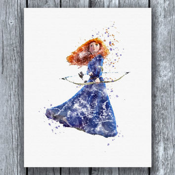 Brave Merida Disney Princess Watercolor Art Print Instant Download