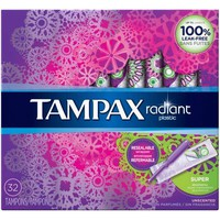 Tampax Radiant Super Tampons, Unscented, 32 ct