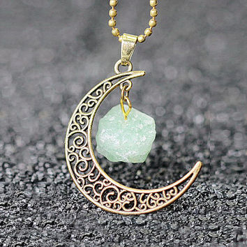 RAW NATURAL Amazonite Pendant Moon jewelry bohemian authentic Personalized Crytal quartz natural stone Birth stone necklace