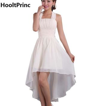 Cheap Price White Short Bridesmaid Dresses 2017 HooltPrinc Lady Chiffon Wedding Party Dress Formal Prom Kaftan with Flower