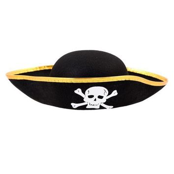 CREYL Unisex Dressing Up Black Skull Pattern Pirate Bucket Hat Cap