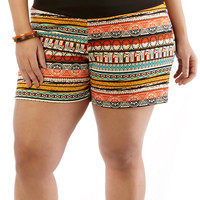 Plus-Size Knit Shorts - Rainbow