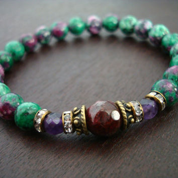 Women's Hope & Strength Mala Bracelet - Garnet, Ruby Zoisite, Amethyst Mala Bracelet - Yoga, Buddhist, Meditation, Jewelry