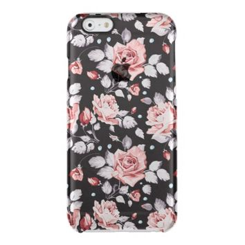 Vintage Pink Floral Pattern Clear iPhone 6/6S Case