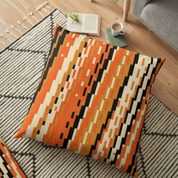 'Black and Orange Abstract' Floor Pillow by Christy Leigh