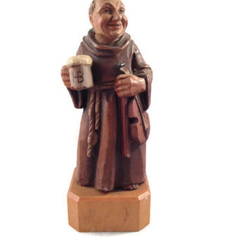 Anri Toriart Wood Monk, Hand Carved Friar w HB Hofbräuhaus Beer  & Violin, Made in Italy