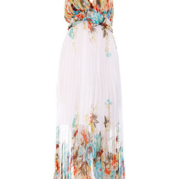 White floral pleated maxi dress - Maxi Dresses  - Dresses  - Dorothy Perkins