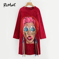 ROMWE Head Print Strap Autumn Dress Woman Burgundy Long Sleeve Funny Shift Dresses 2017 Fashion O Neck Punk Style Casual Dress