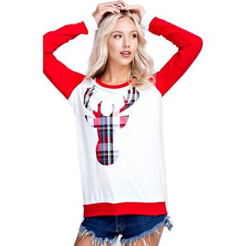Long Sleeve Plaid Reindeer Patch Top, Ivory-Red