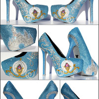 Cinderella Heels with Swarovski Crystals on Baby Blue Glitter Platforms