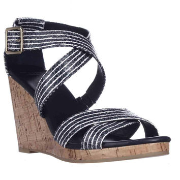 Cole Haan Lillian Wedge Criss-Cross Sandals - Blue Snake